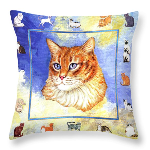 Cats Purrfection Five - Orange Tabby Throw Pillow by Linda Mears