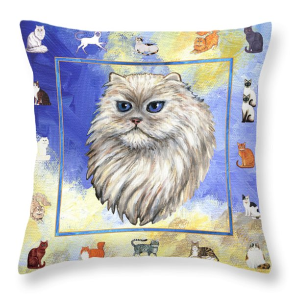 Cats Purrfection Four - Persian Throw Pillow by Linda Mears