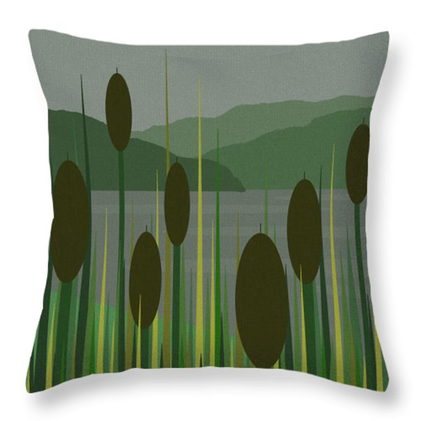 Cattails In The Rain Throw Pillow by Val Arie