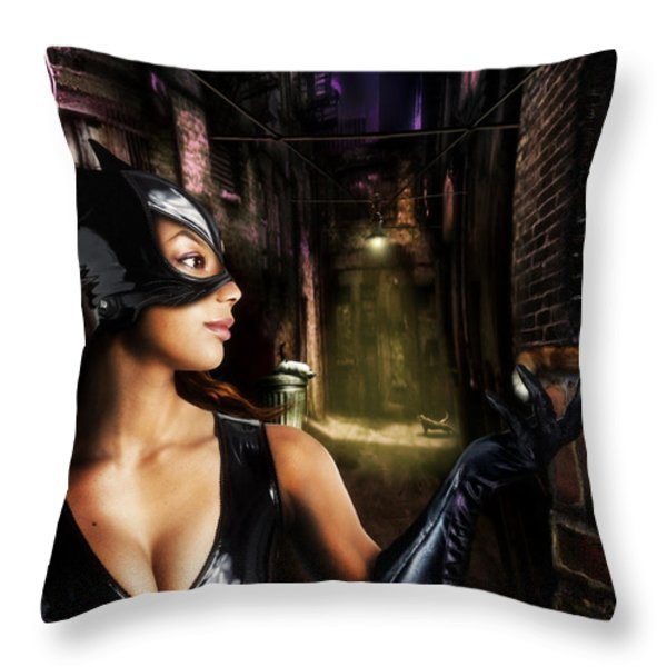 Catwoman Throw Pillow by Alessandro Della Pietra