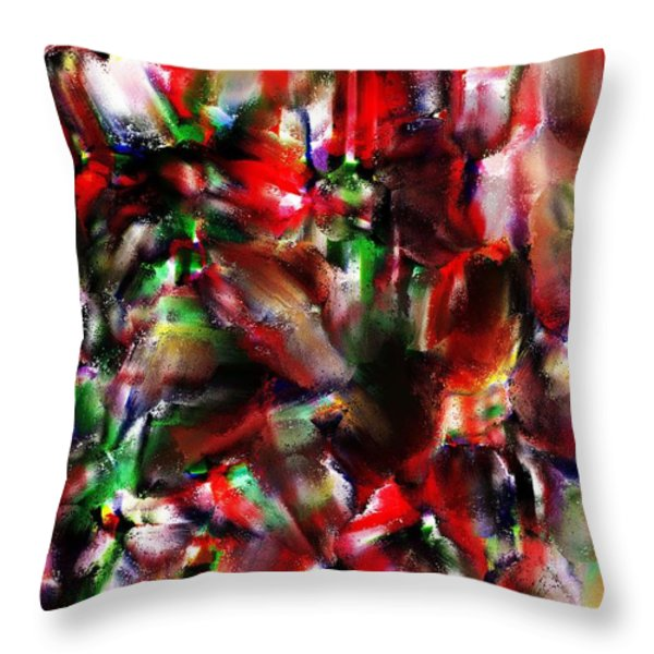 Caught In The Crowd Two Water Color And Pastels Wash Throw Pillow by Sir Josef  Putsche