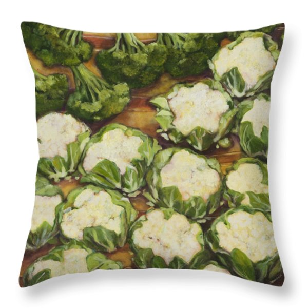 Cauliflower March Throw Pillow by Jen Norton