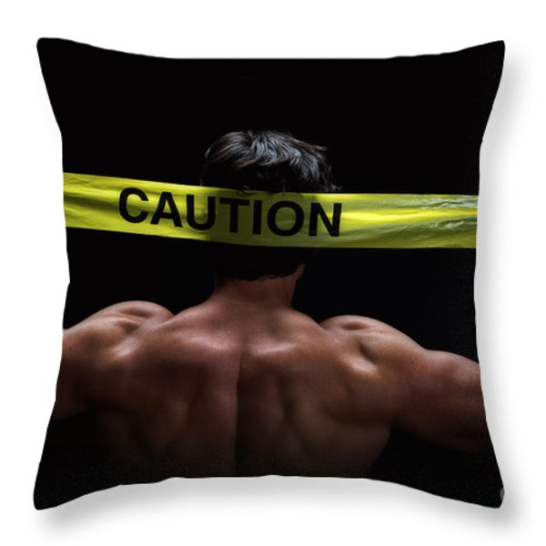 Caution Throw Pillow by Jane Rix