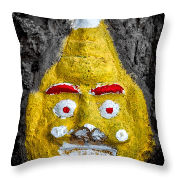 Cave Face 2 Throw Pillow by Adrian Evans