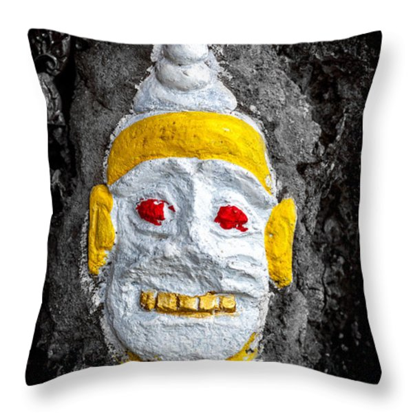 Cave Face 4 Throw Pillow by Adrian Evans
