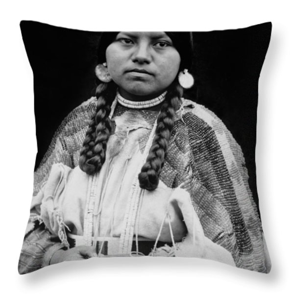 Cayuse woman circa 1910 Throw Pillow by Aged Pixel