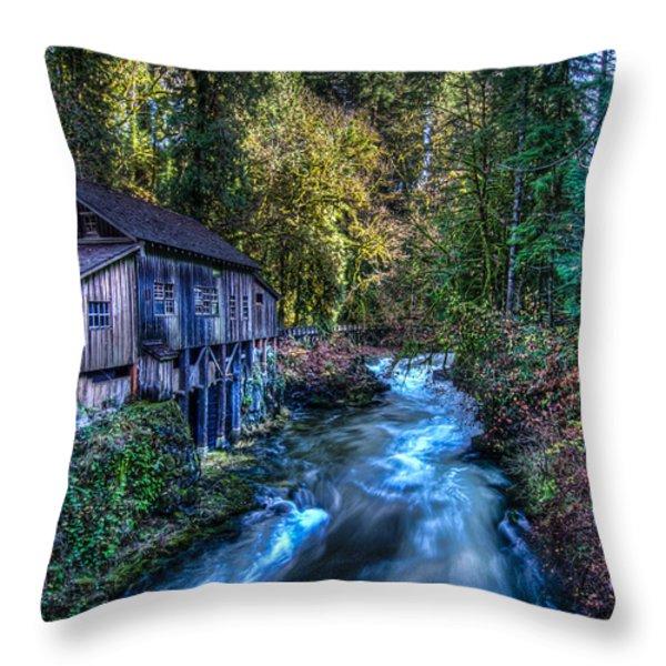 Cedar Creek Grist Mill Throw Pillow by Puget  Exposure