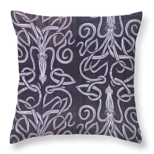 Celtic Plum Kraken Throw Pillow by CR Leyland