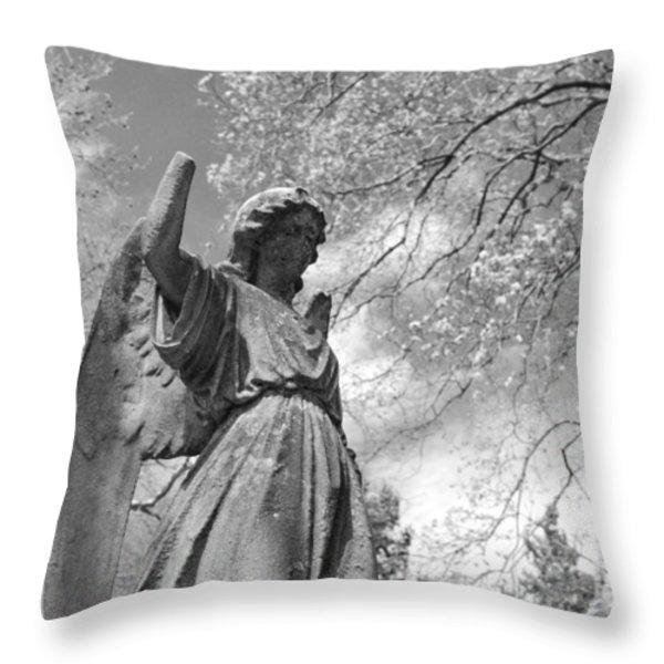 cemetery angel Throw Pillow by Jennifer Lyon