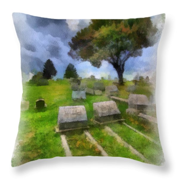 Cemetery Clouds Throw Pillow by Amy Cicconi