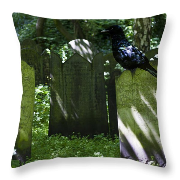 Cemetery with Ancient Gravestones and Black Crow  Throw Pillow by Nomad Art And  Design