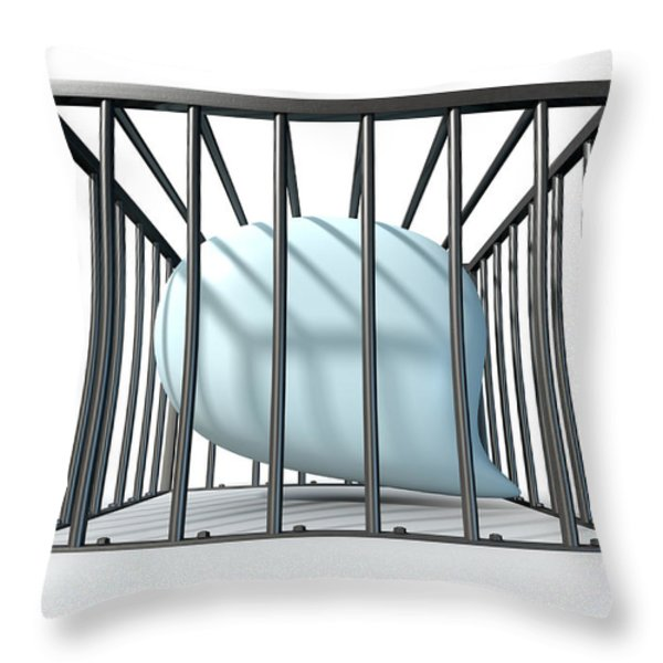 Censorship Of Speech Caged Throw Pillow by Allan Swart