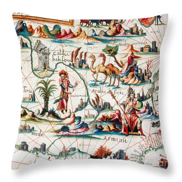 Central Asia Pierre Descelierss Map Throw Pillow by Photo Researchers
