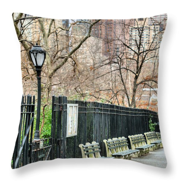 Central Park Throw Pillow by JC Findley