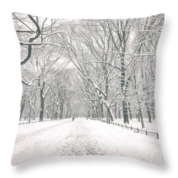 Central Park Winter - Poet's Walk in the Snow - New York City Throw Pillow by Vivienne Gucwa
