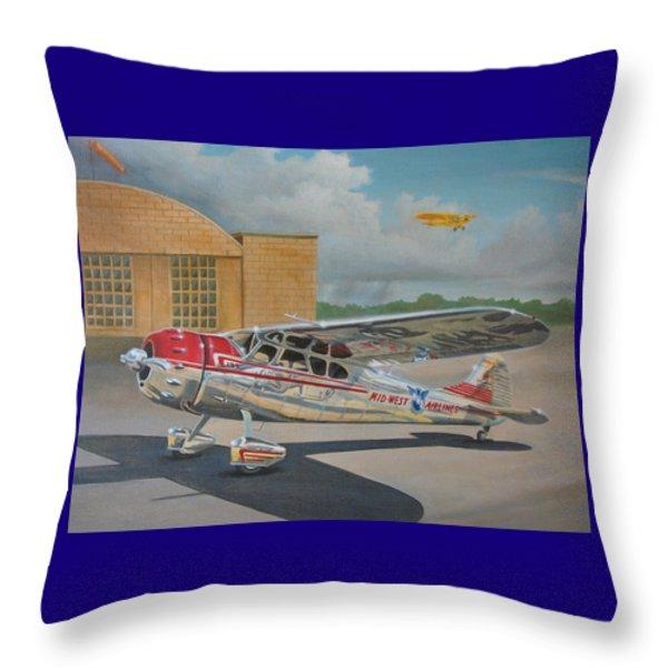 Cessna 195 Throw Pillow by Stuart Swartz