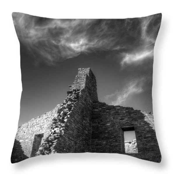 Chaco Canyon Pueblo Bonito Monochrome Throw Pillow by Bob Christopher