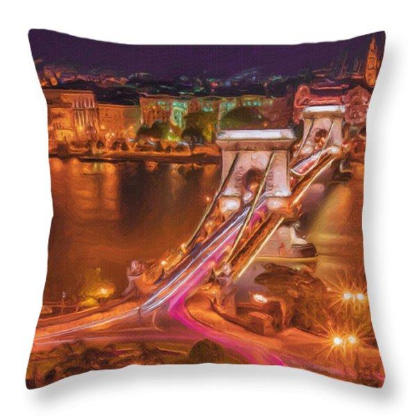 Chain Bridge Throw Pillow by Ayse Deniz