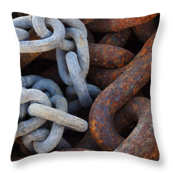 Chain Links Throw Pillow by Carlos Caetano