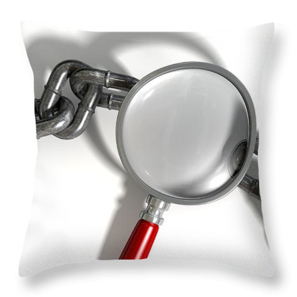 Chain Missing Link Magnifying Glass Throw Pillow by Allan Swart