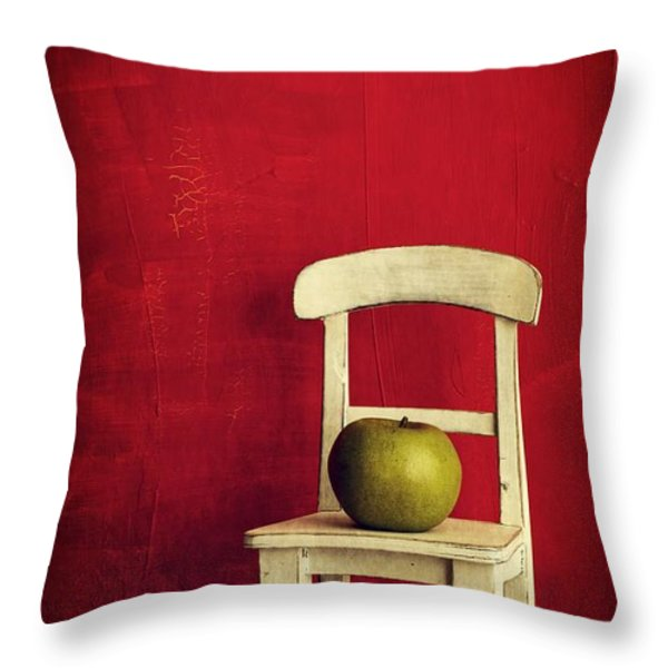 Chair Apple Red Still Life Throw Pillow by Edward Fielding