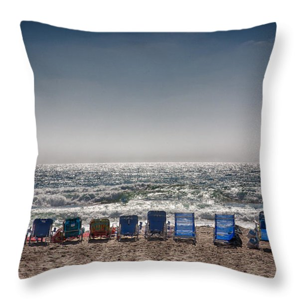 Chairs Watching The Sunset Throw Pillow by Peter Tellone
