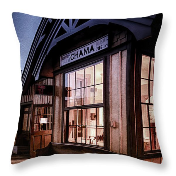 Chama Train Station Throw Pillow by Priscilla Burgers