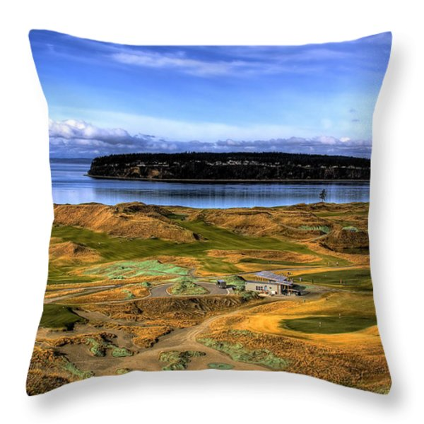 Chambers Bay Golf Course Throw Pillow by David Patterson