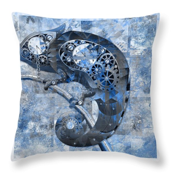 Chameleon - Blue 01b02 Throw Pillow by Variance Collections
