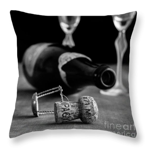 Champagne Bottle Still Life Throw Pillow by Edward Fielding