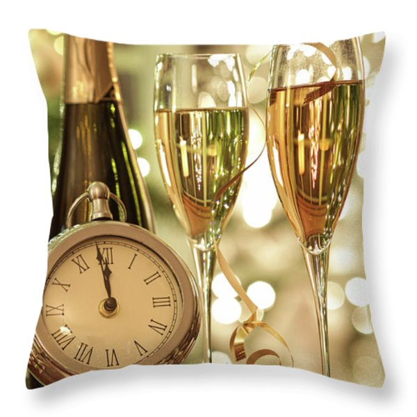 Champagne Glasses Ready To Bring In The New Year Throw Pillow by Sandra Cunningham