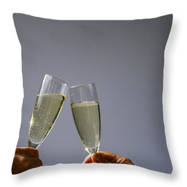 Champagne Toast Throw Pillow by Patricia Hofmeester