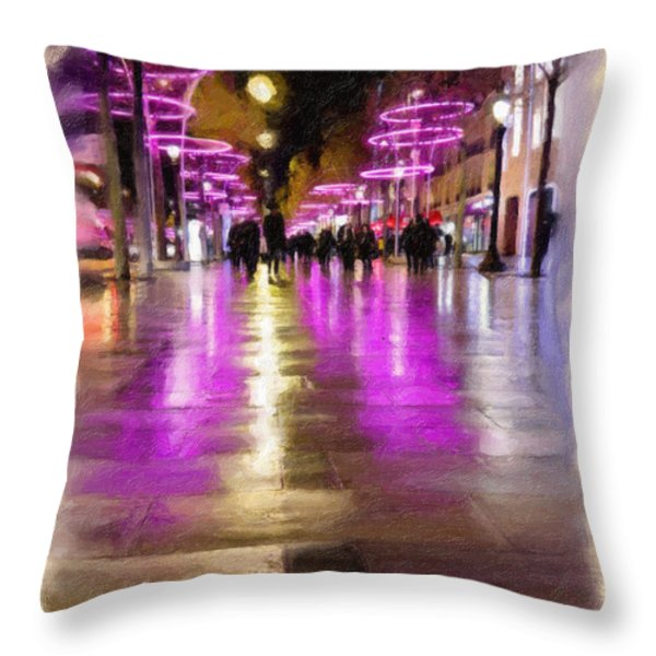 Champs Elysees In Pink Throw Pillow by Angela A Stanton