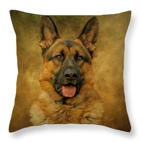 Chance - German Shepherd Throw Pillow by Sandy Keeton