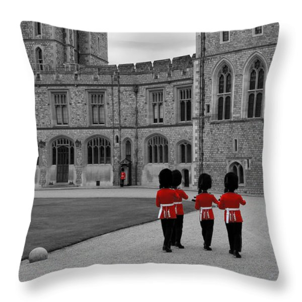 Changing Of The Guard At Windsor Castle Throw Pillow by Lisa Knechtel