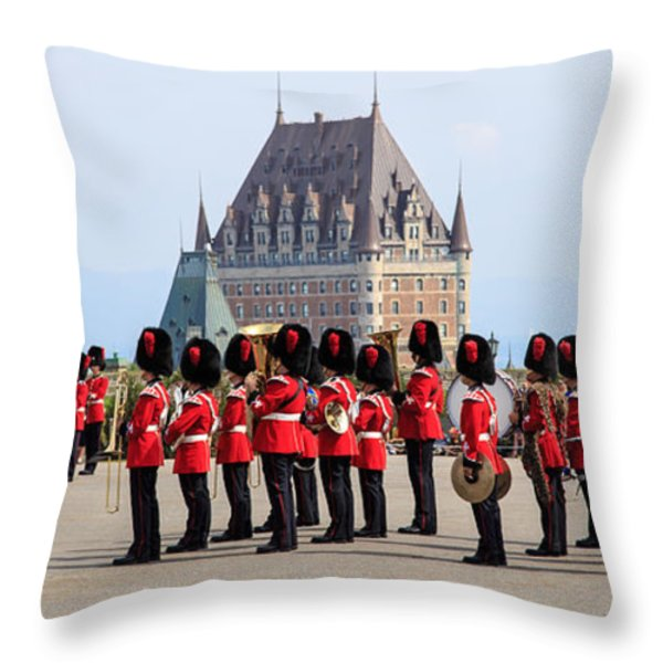 Changing Of The Guard The Citadel Quebec City Throw Pillow by Edward Fielding