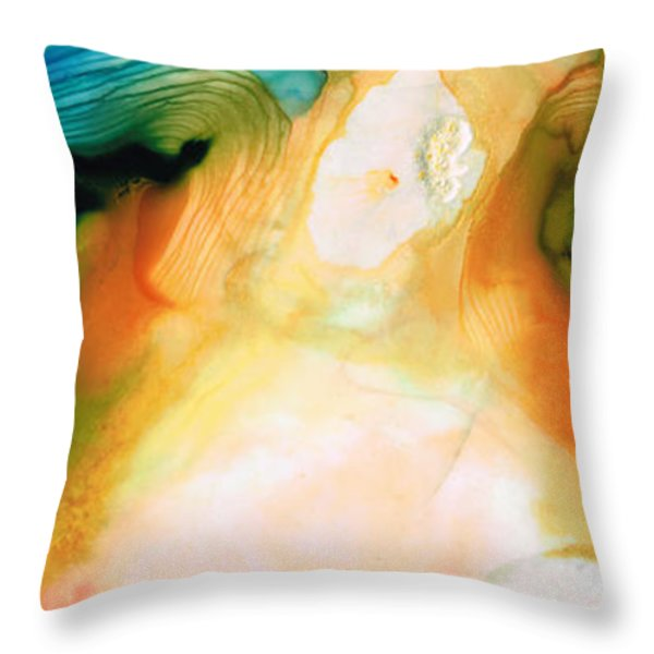 Channels - Abstract Art By Sharon Cummings Throw Pillow by Sharon Cummings