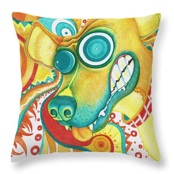 Chaotic Canine Throw Pillow by Shawna  Rowe