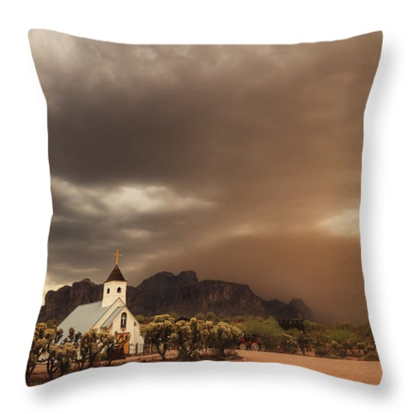 Chapel In The Storm Throw Pillow by Rick Furmanek