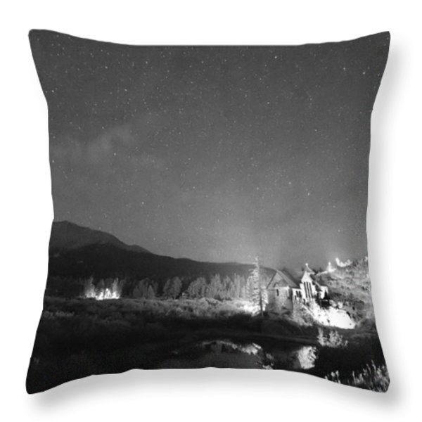 Chapel On the Rock Stary Night Portrait BW Throw Pillow by James BO  Insogna