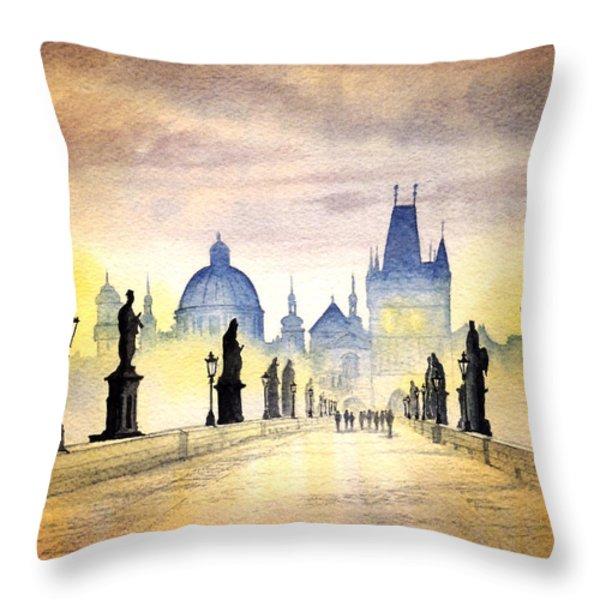 Charles Bridge Prague Throw Pillow by Bill Holkham