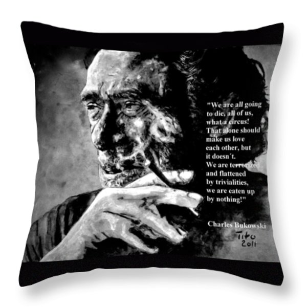 Charles Bukowski Throw Pillow by Richard Tito