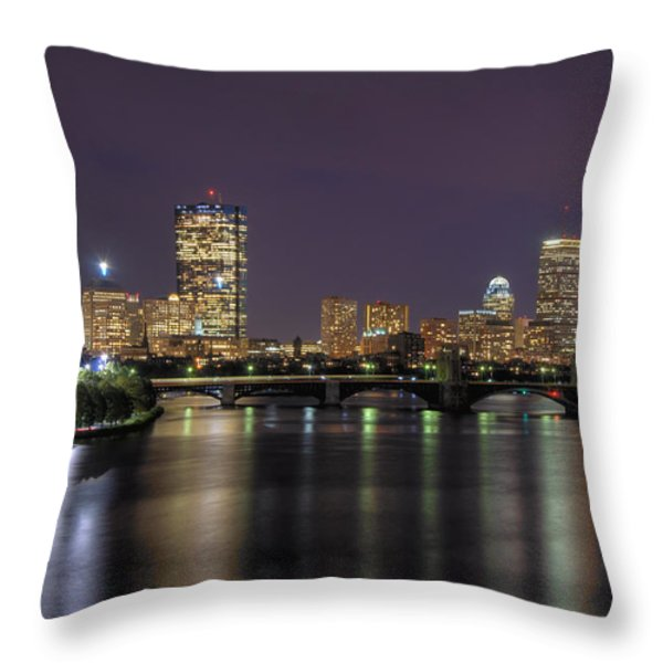 Charles River Reflections - Boston Throw Pillow by Joann Vitali