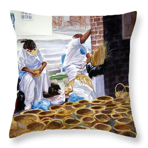 Charleston Basket Weavers Throw Pillow by Julia Rietz