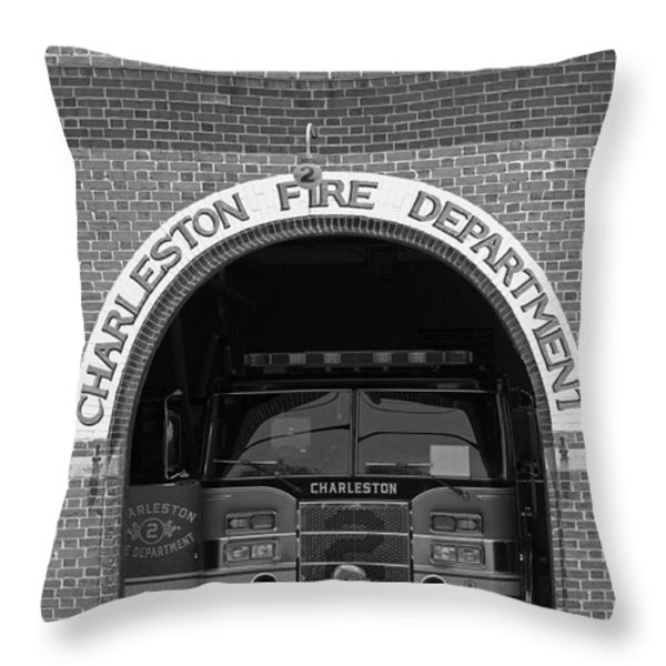 Charleston Fire Department - Black And White Throw Pillow by Suzanne Gaff