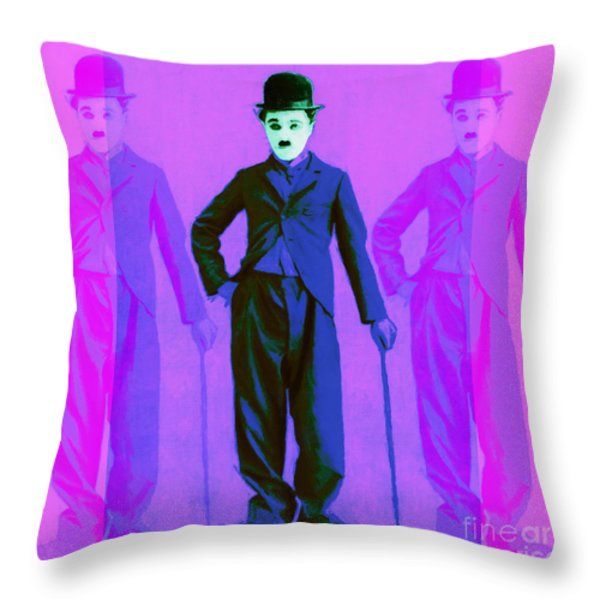 Charlie Chaplin The Tramp Three 20130216m108 Throw Pillow by Wingsdomain Art and Photography