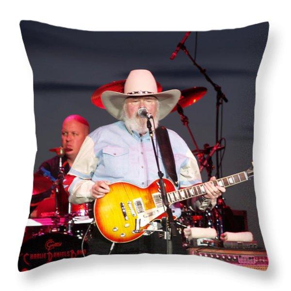 Charlie Daniels Throw Pillow by Bill Gallagher