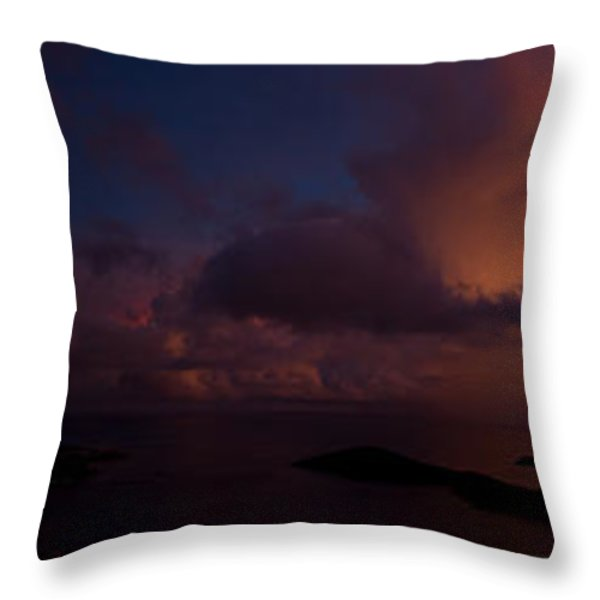 Charlotte Amalie Dusk Panorama Throw Pillow by Jared Shomo