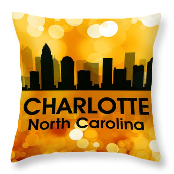 Charlotte NC 3 Throw Pillow by Angelina Vick