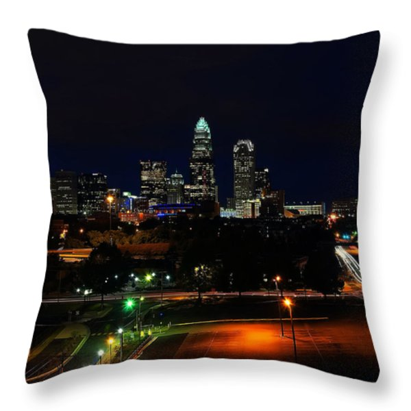 Charlotte NC at night Throw Pillow by Chris Flees